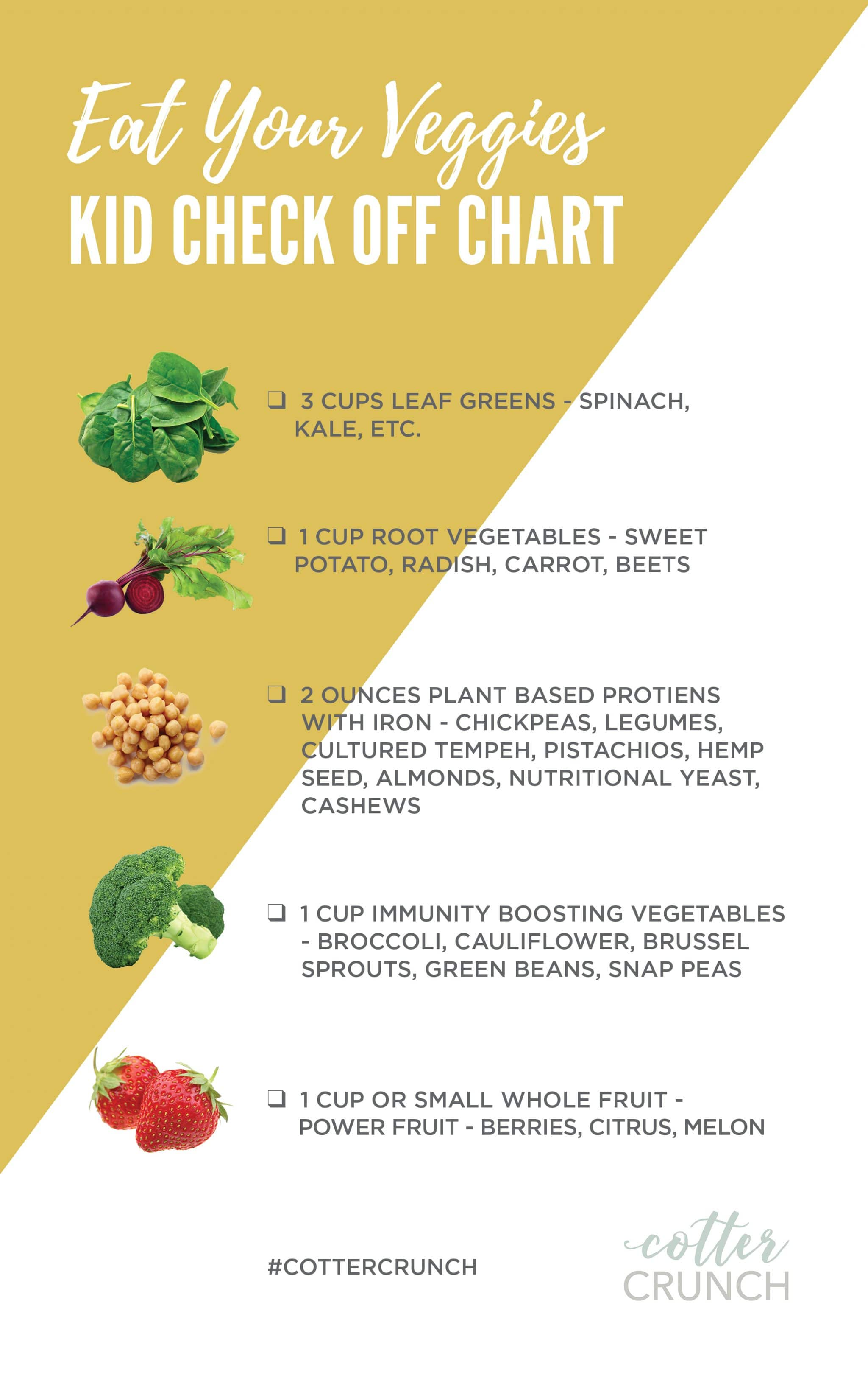 Whole food vegetable challenge chart for kids