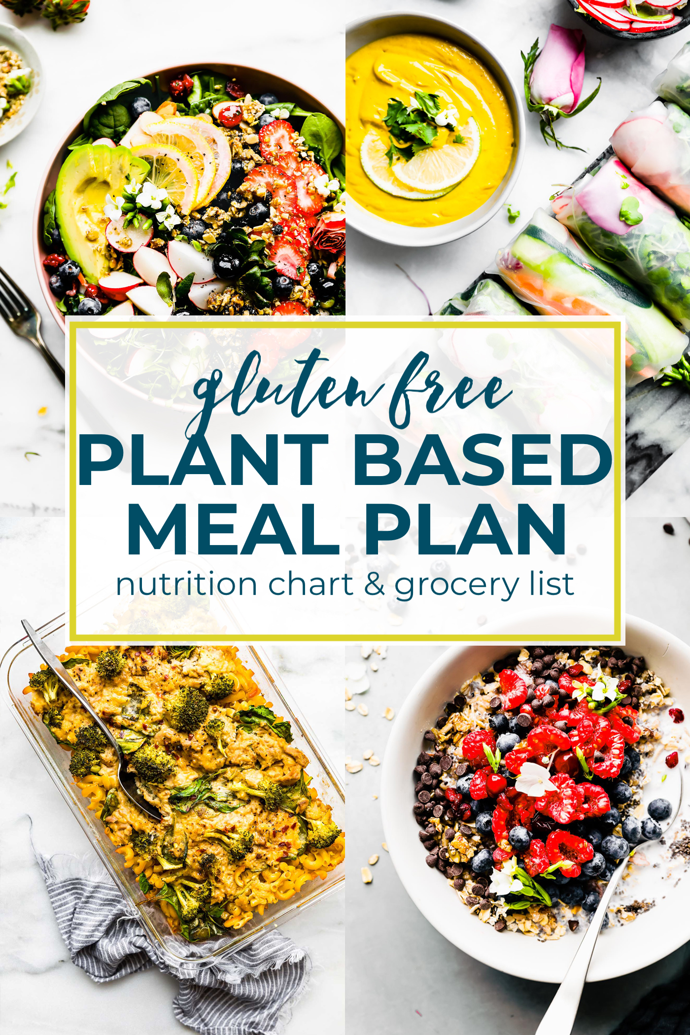 This plant based foods meal plan and grocery list is perfect for anyone on a gluten free and plant based diet, and we have vegan-friendly options, too!