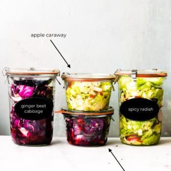 4 canning jars of homemade sauerkraut