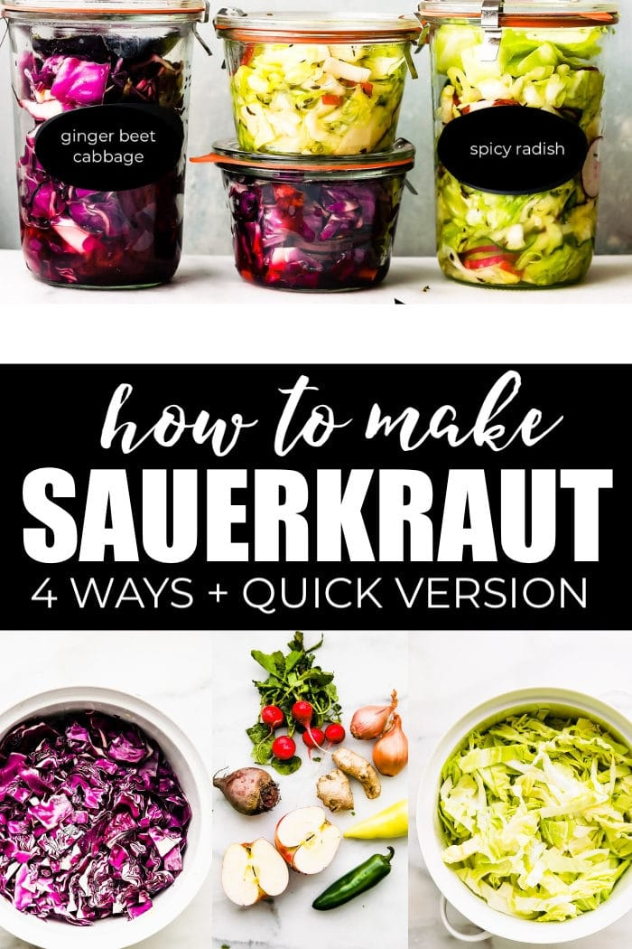 sauerkraut and ingredients collage