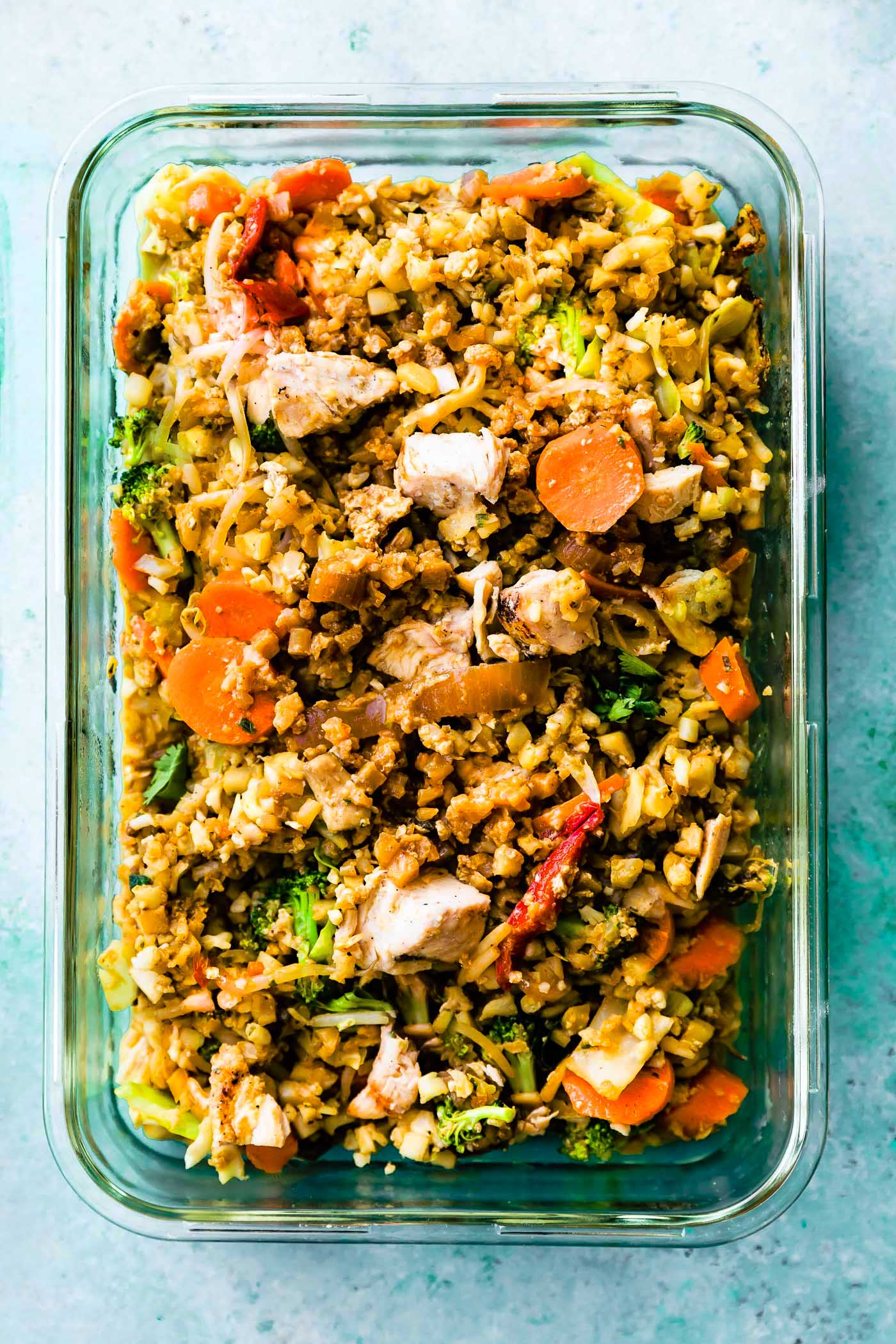 cauliflower rice and veggies in casserole