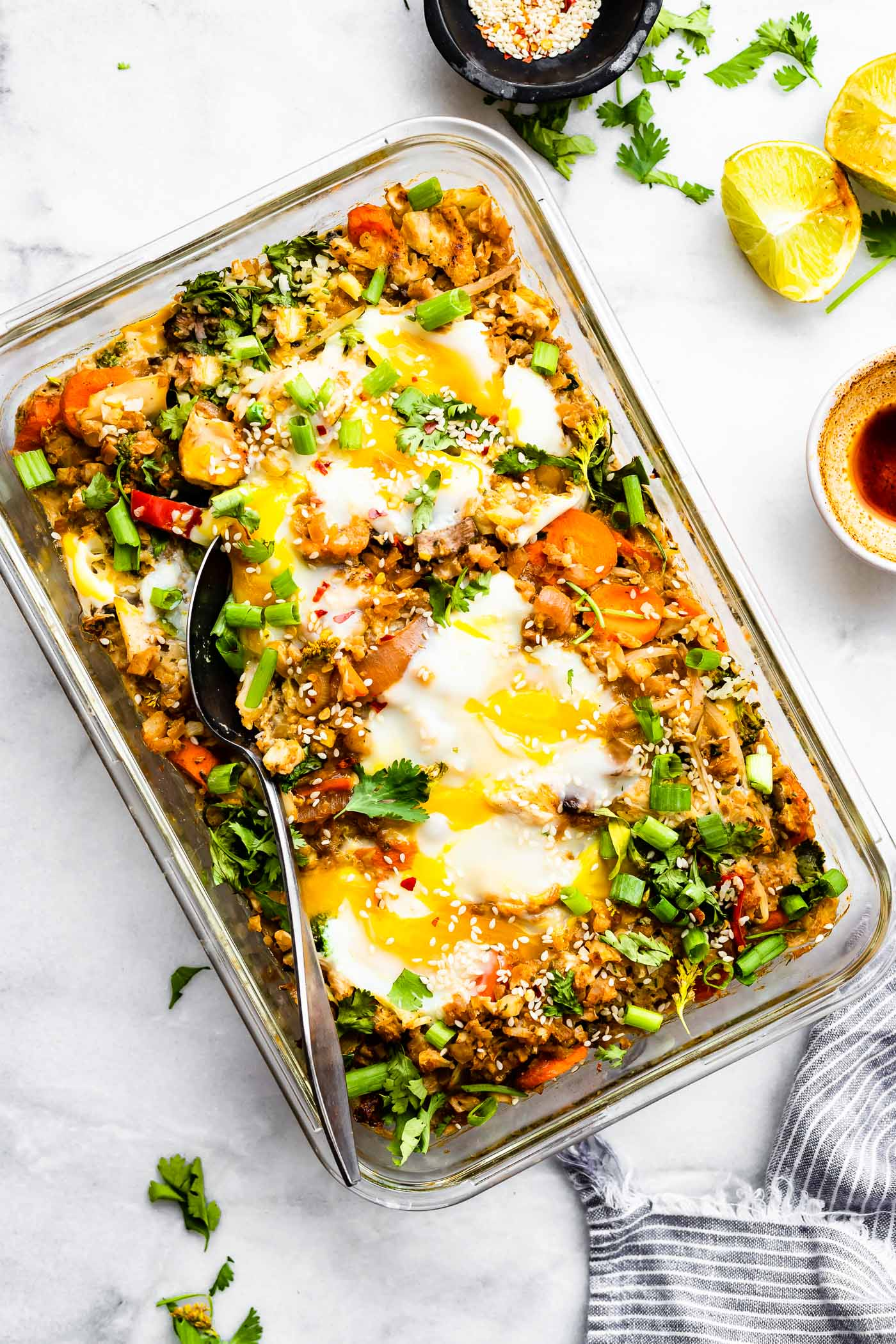 egg chinese rice veggie casserole
