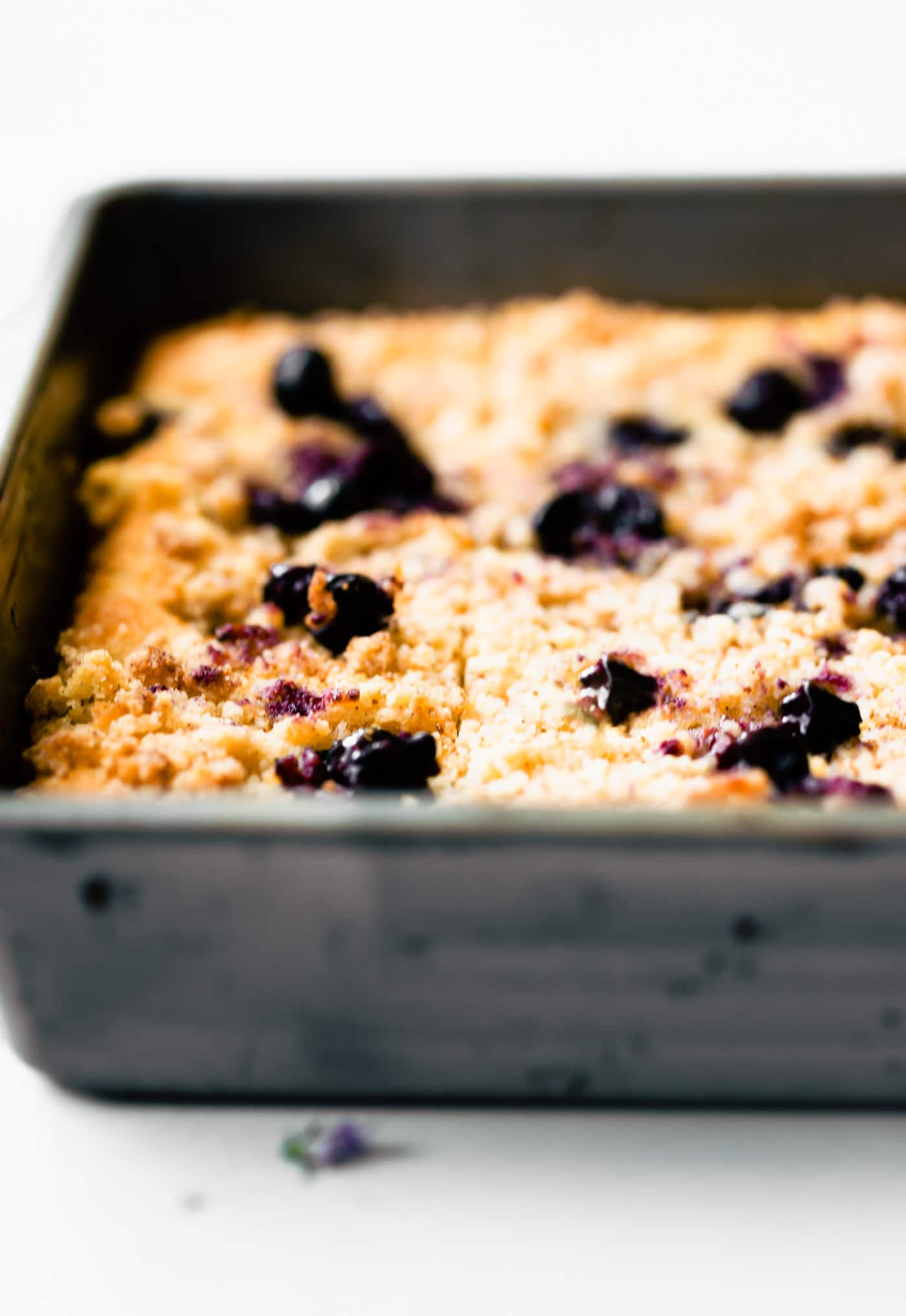 close up of coffee cake with berries