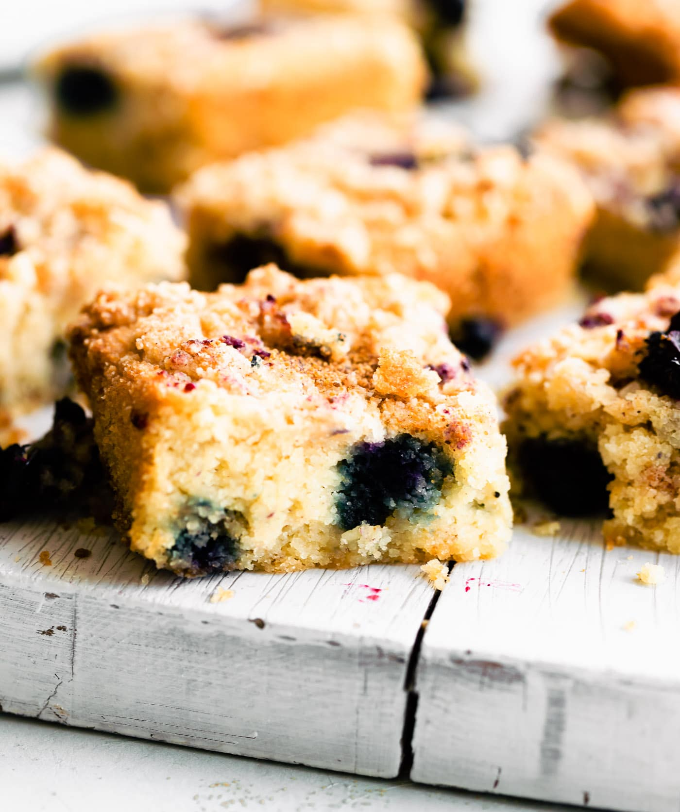 blueberry cake sliced in squares