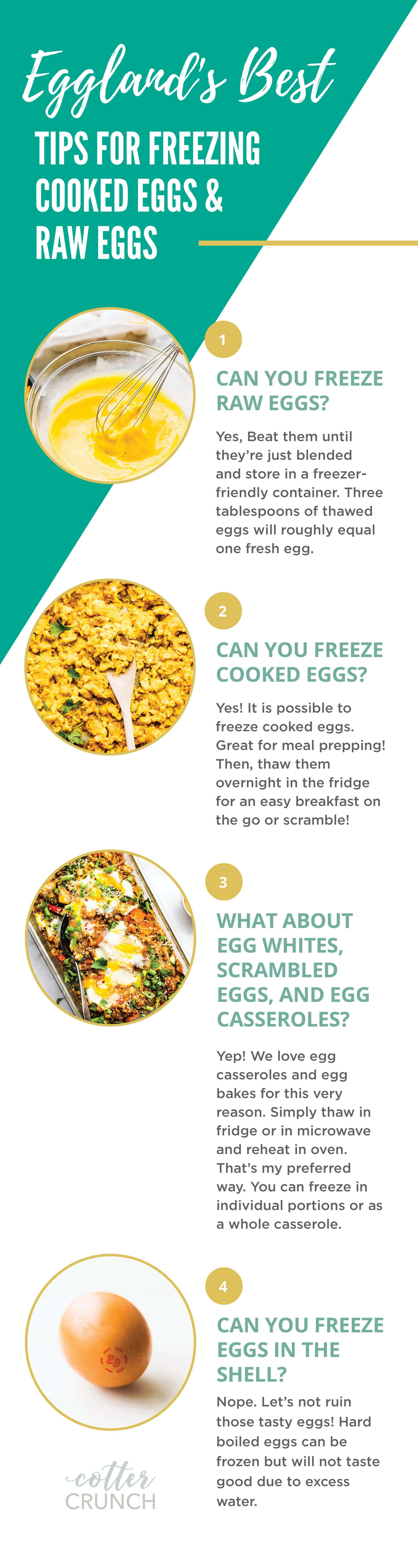 FREEZER MEALS can be a busy person's best friend, especially when those meals include healthy, delicious eggs. This GLUTEN-FREE MEAL PLAN includes tips on how to freeze meals and a grocery shopping list. We even include a special graphic on how to freeze cooked and raw eggs!
