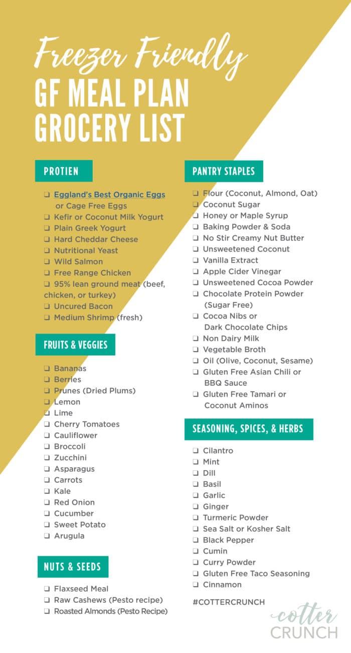 freezer-friendly gluten free meal plan grocery list