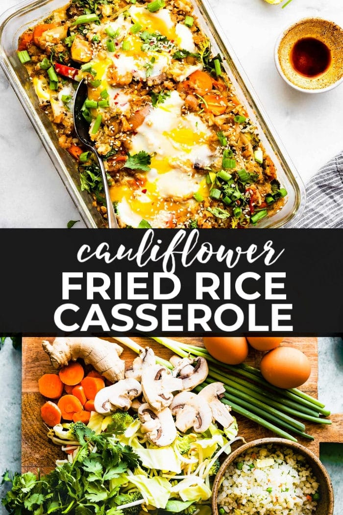 Cauliflower fried rice casserole is a meal prep recipe that is perfect for low carb eaters. It's freezer friendly, easy to make, and of course it's delicious! Vegetarian and paleo recipe options. #friedrice #cauliflowerrice #lowcarbrecipes