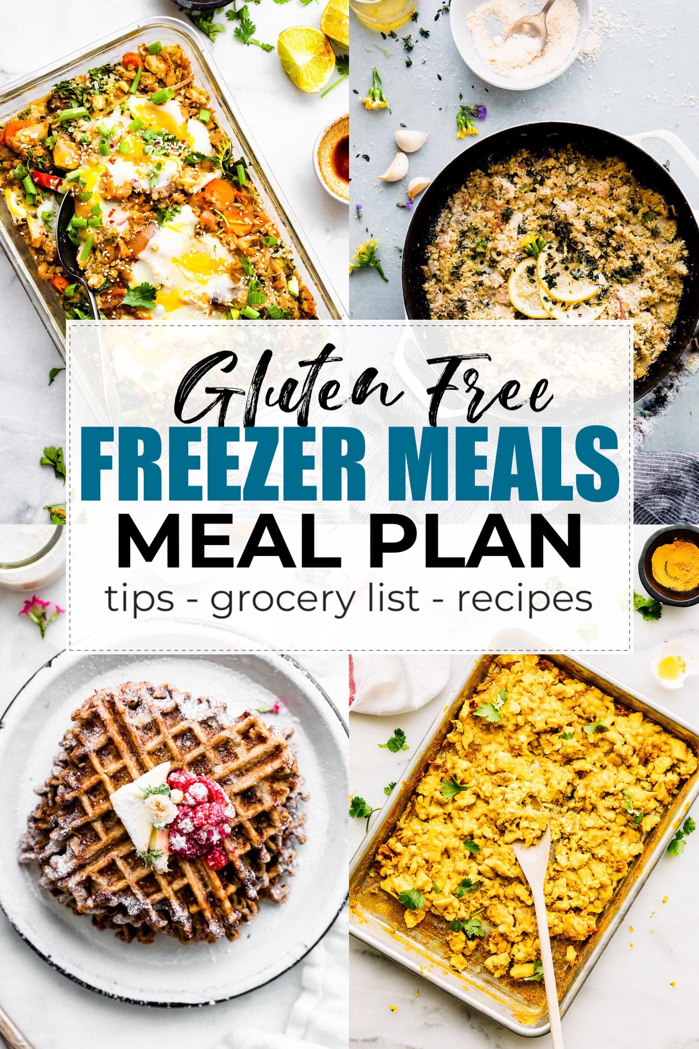 titled photo collage of recipes from a gluten freezer meals meal plan