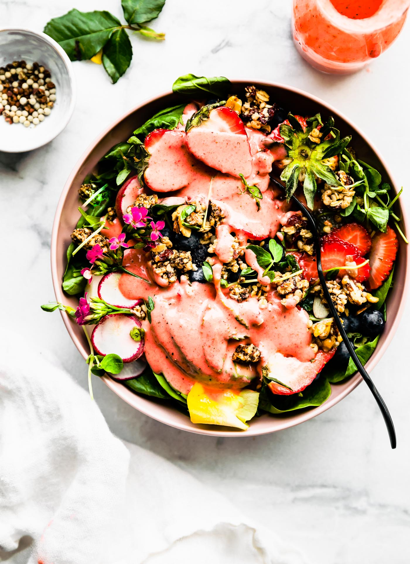 This Strawberry Spinach Salad with Granola Croutons