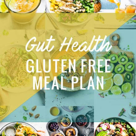 collage of gut health foods and recipes with title cover GUT HEALTHY FOODS- MEAL PLAN