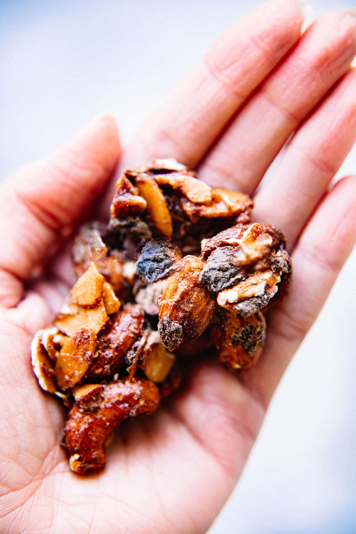 granola clusters in hand