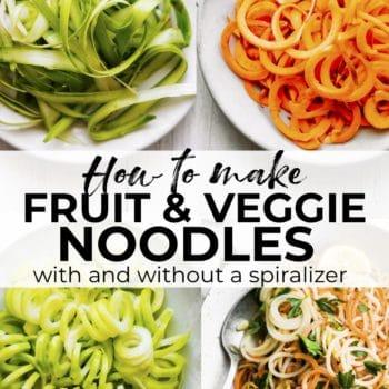 how to make veggie noodles and fruit noodles without a spiralizer. #spiralizer #keto #vegan #paleo #vegetarian