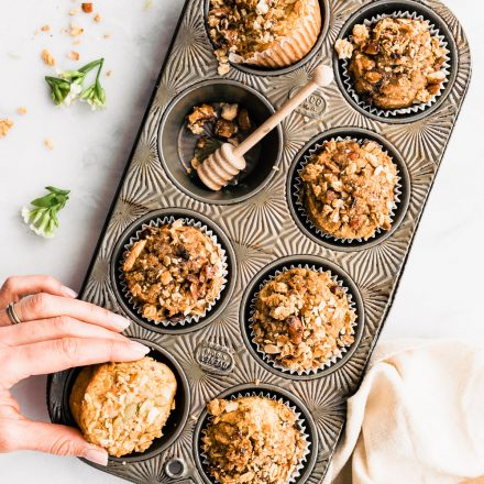 overhead: pan of no added sugar breakfast muffins
