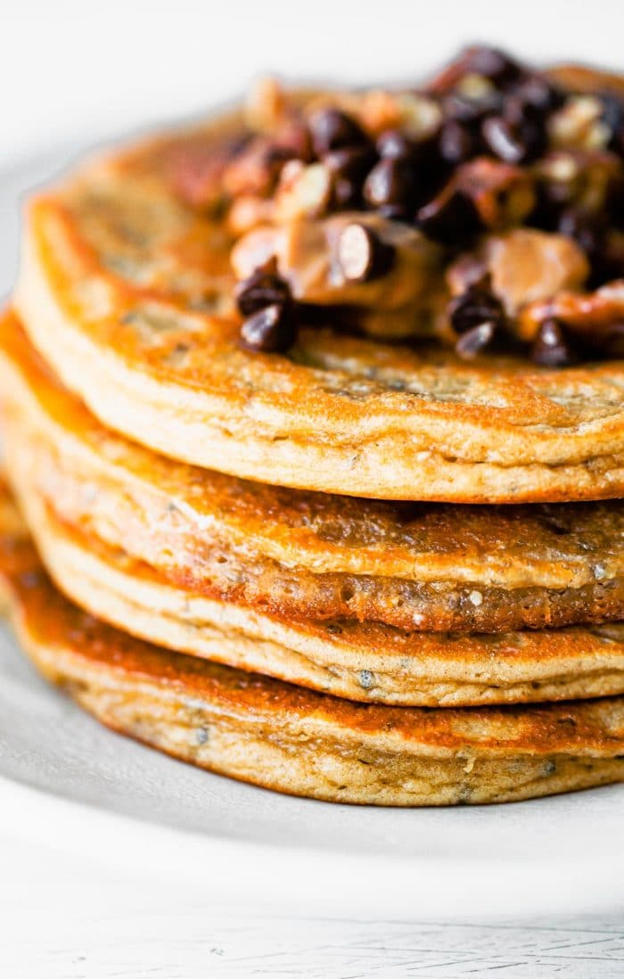stack of pancakes with mini chocolate chips on top