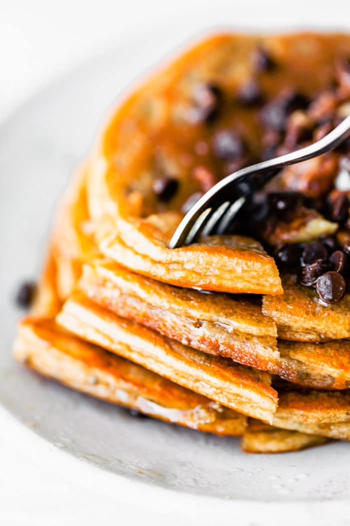forkful of paleo pancakes