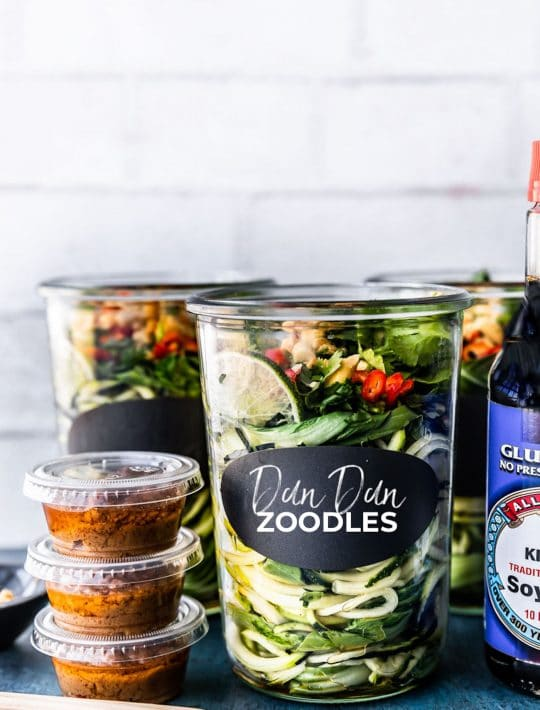 dan dan zoodles in jar with sauce