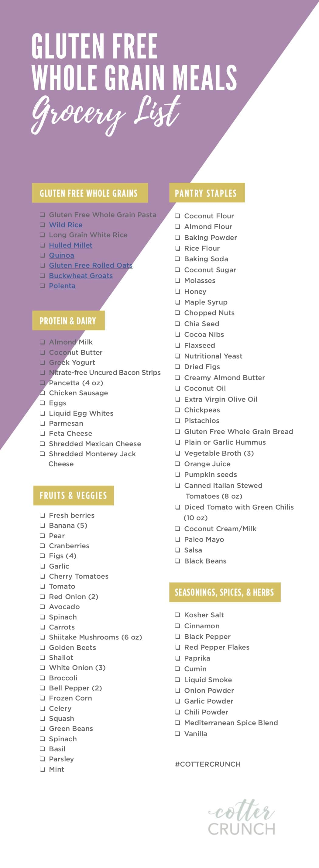 grocery list for meal plan