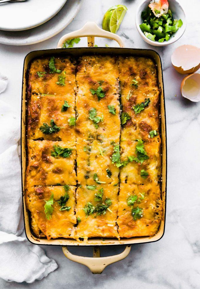egg casserole on table
