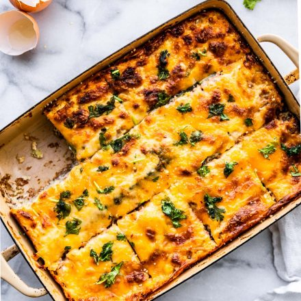 egg casserole with utensils on table