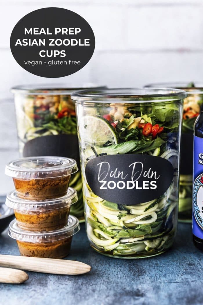 dan dan noodle cups with zoodles and sauces on side