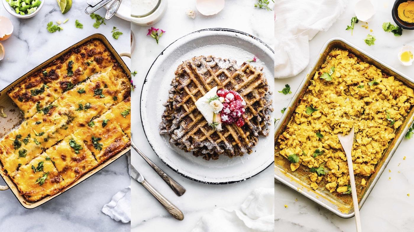 breakfast dishes, egg casserole, waffles, and scrambled eggs