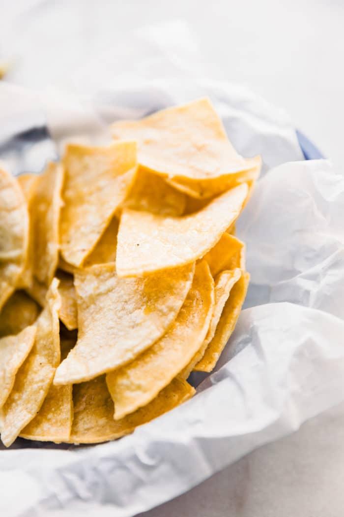 basket of homemade tortilla chips