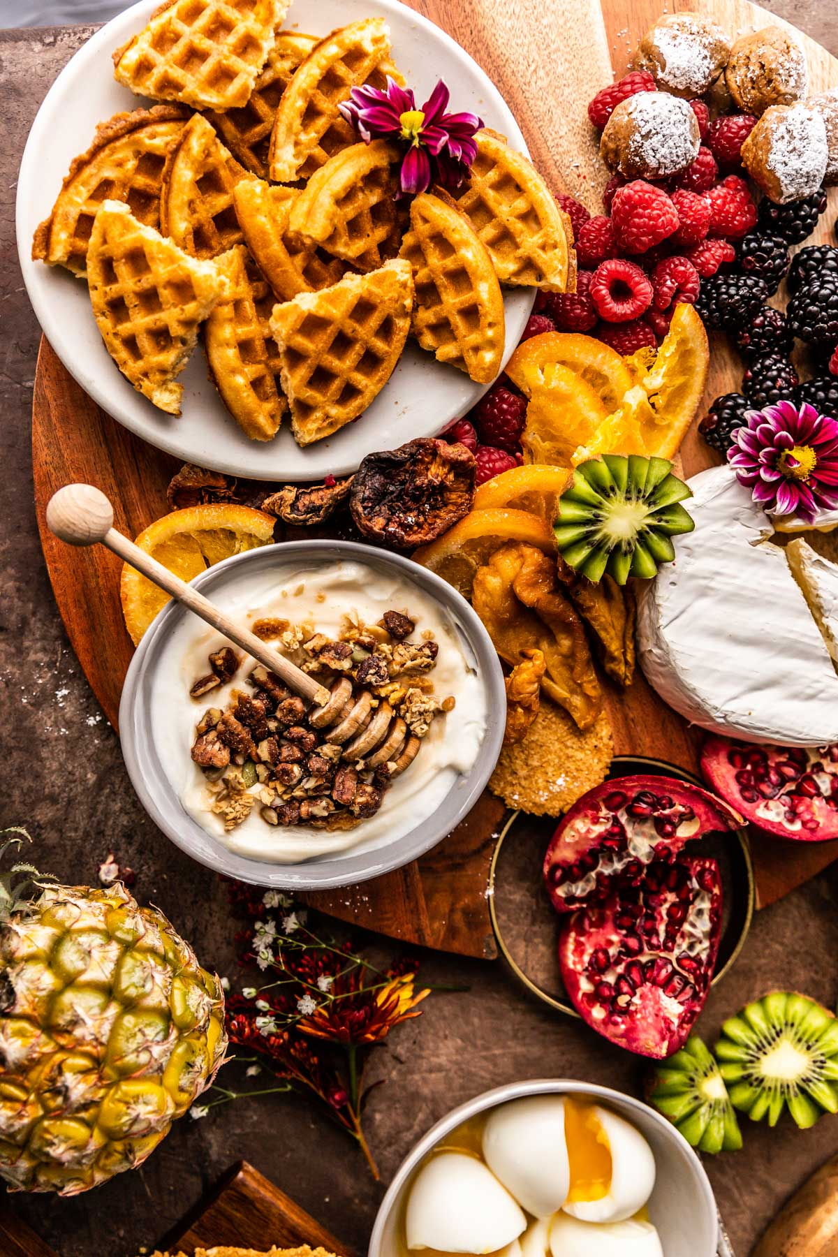 Brunch Boards with yogurt, waffles, and berries