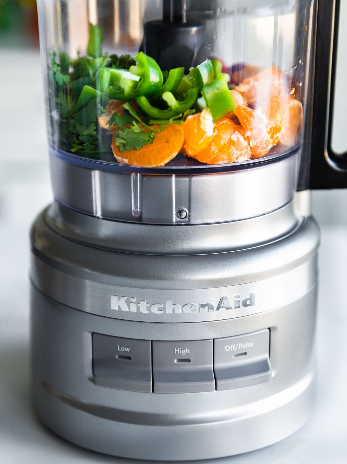 food processor with fruit and herbs