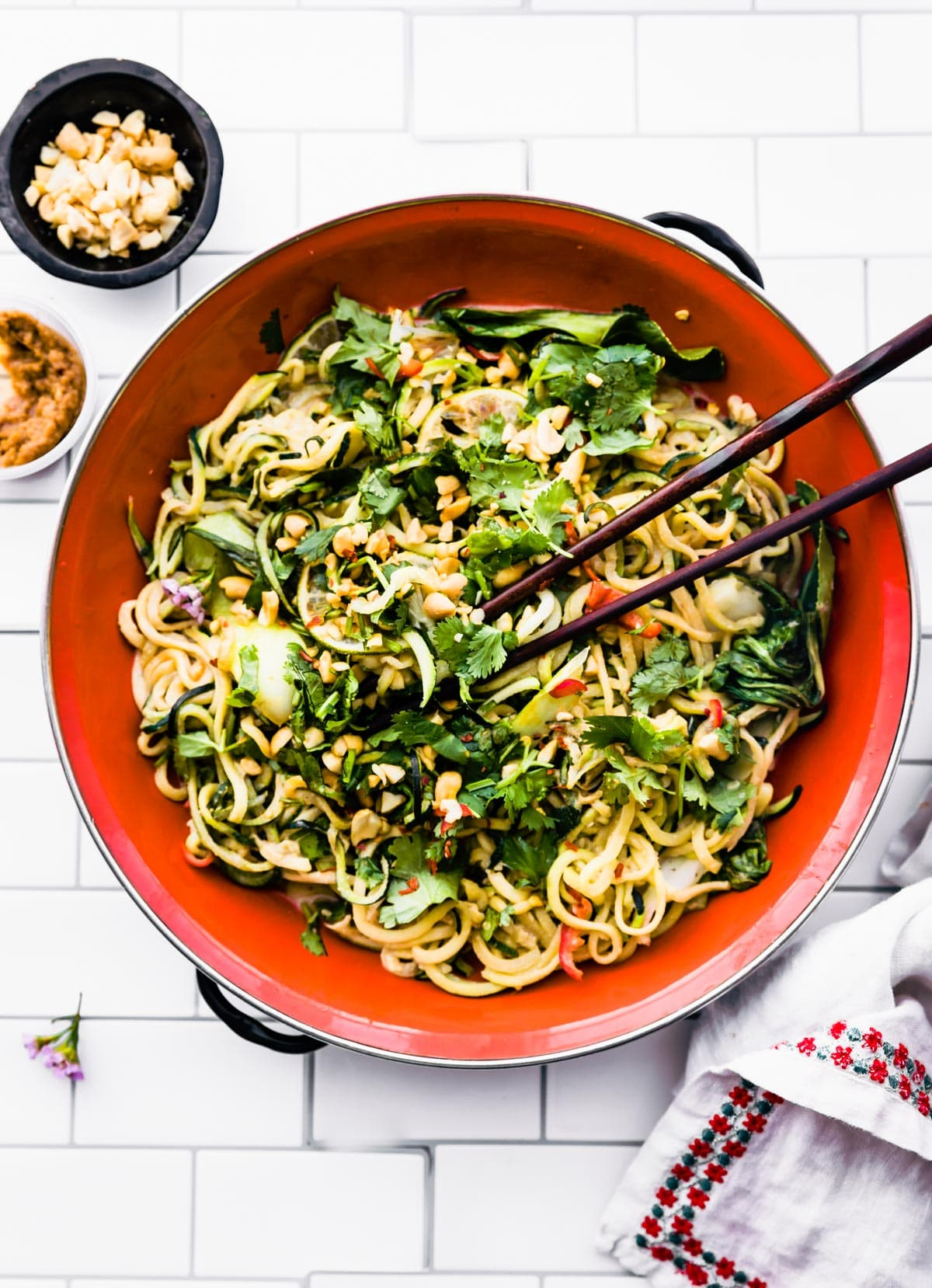 pot of zoodle stir fry with chopsticks