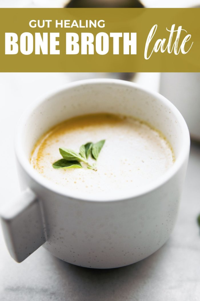 BONE BROTH LATTE is a delicious hot drink with nutritional benefits! It has collagen and healthy fats, making it a healthy replacement for coffee. #bonebroth #latte #hotdrinks #guthealth