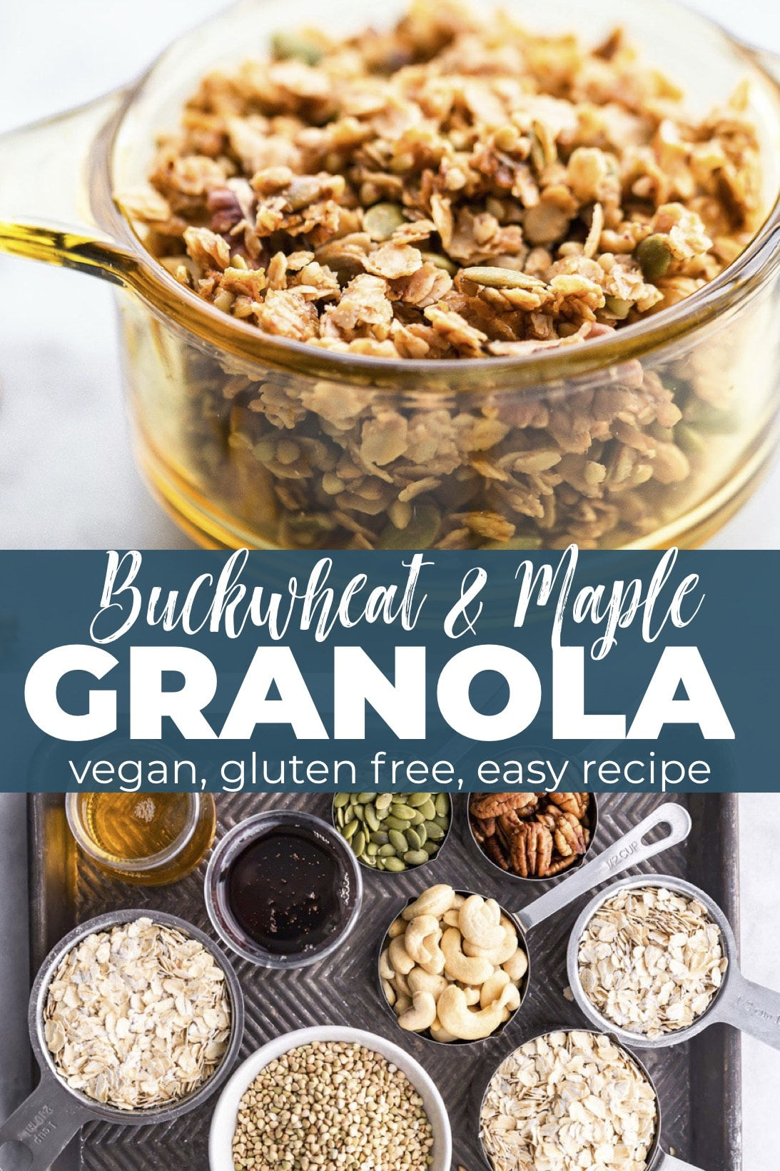 This homemade granola is made with buckwheat groats, gluten free rolled oats, nuts, spices and is lightly sweetened with maple syrup. It's a delicious, wholesome anytime snack. Plus, it's perfect for holiday food gifts! Pair it with whatever you'd like- yogurt, milk, dried fruit, chocolate, etc. Or, eat it by itself! This granola recipe is vegan and refined sugar free. #granola #glutenfree #vegan #homemade