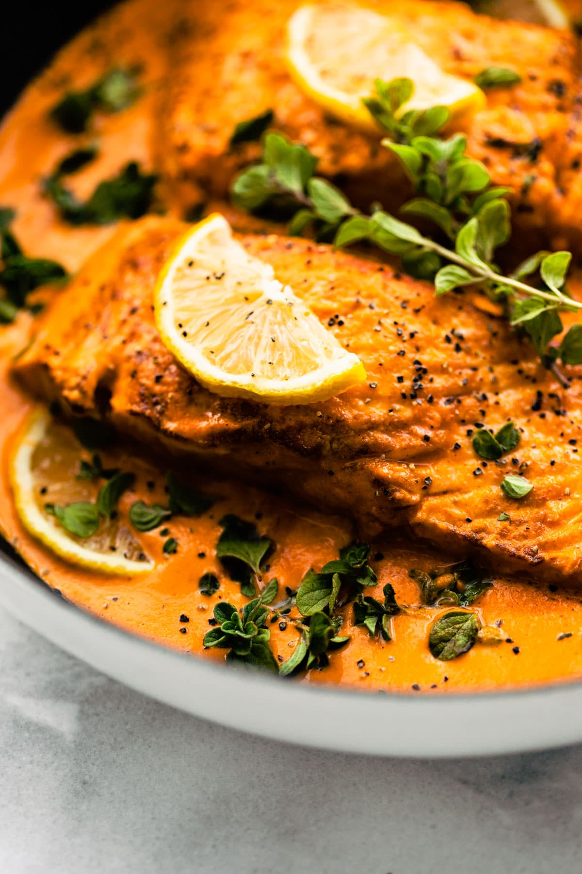 Baked salmon with Red Pepper Sauce!