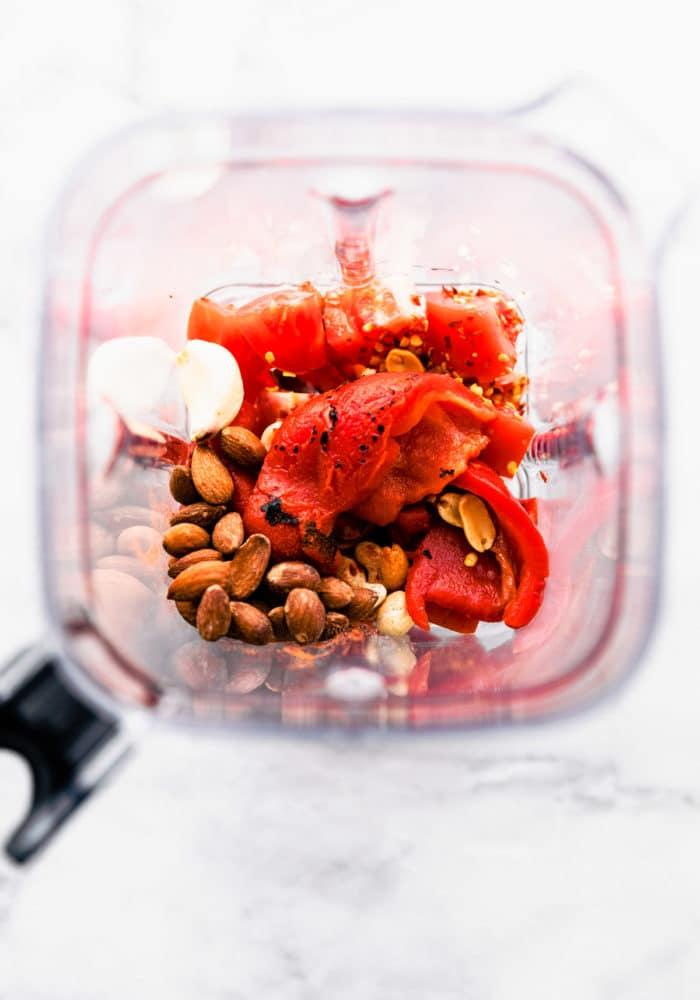 red pepper sauce ingredients in blender