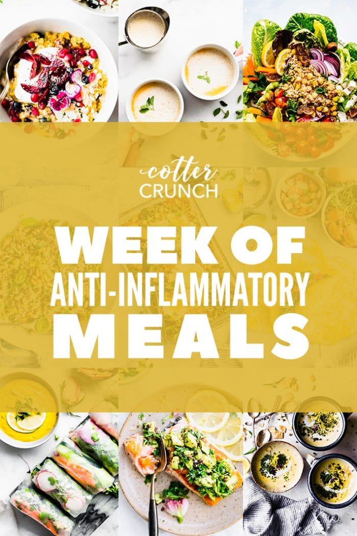 7 day Anti-inflammatory Diet Reset - collage with recipes. Salad, bone brother, breakfast, salmon, and soups