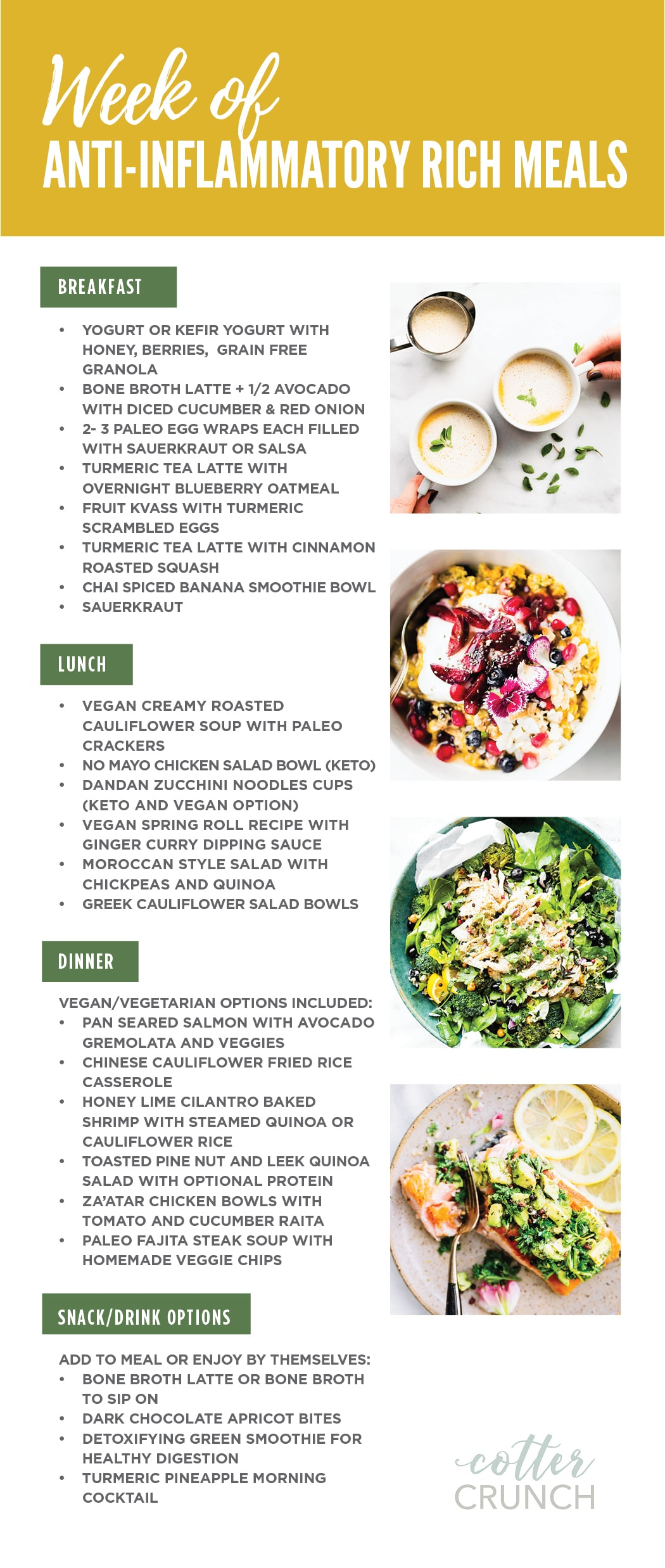 7 day Anti-inflammatory Diet Reset and action plan! #mealplan #antiinflammatory #glutenfree #healthy #mealprep