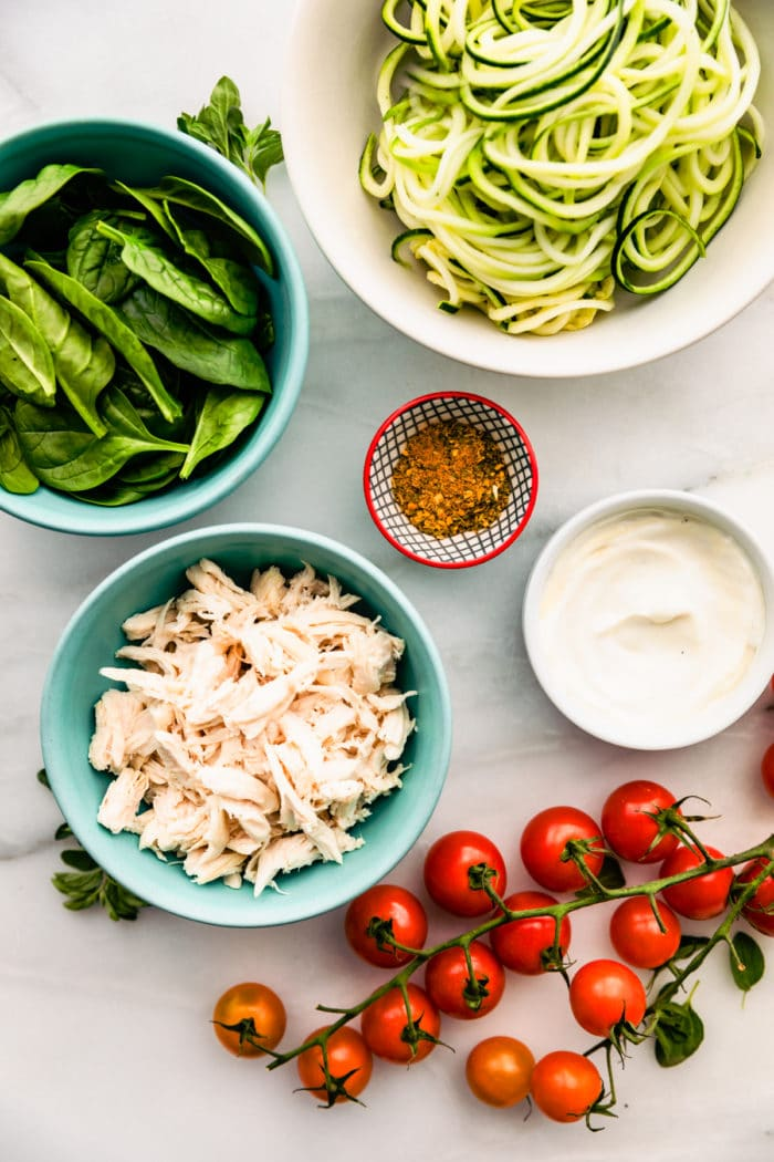 bowls of ingredients to make keto Italian chicken recipe