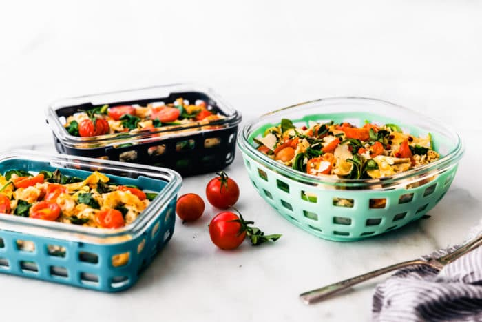 3 Ello meal prep containers with Italian chicken casserole