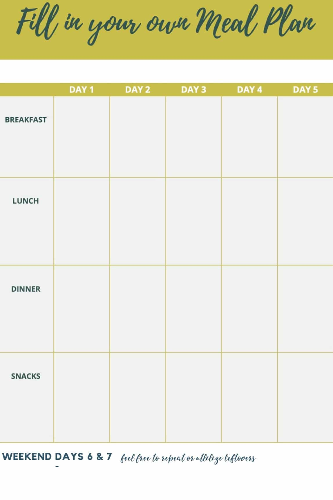 Sample 7 Day Meal Plan Planner