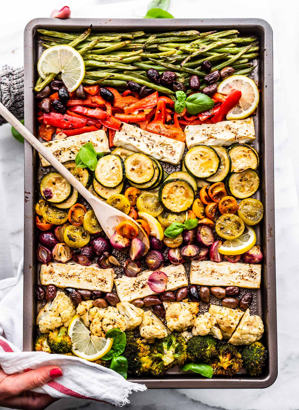 keto meal prep sheet pan dinner with marinated Greek vegetables and halloumi cheese