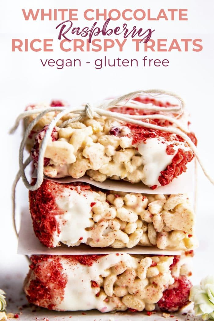 vegan white chocolate crispy treats with raspberry - gluten free #vegan #chocolate #glutenfree #dessert