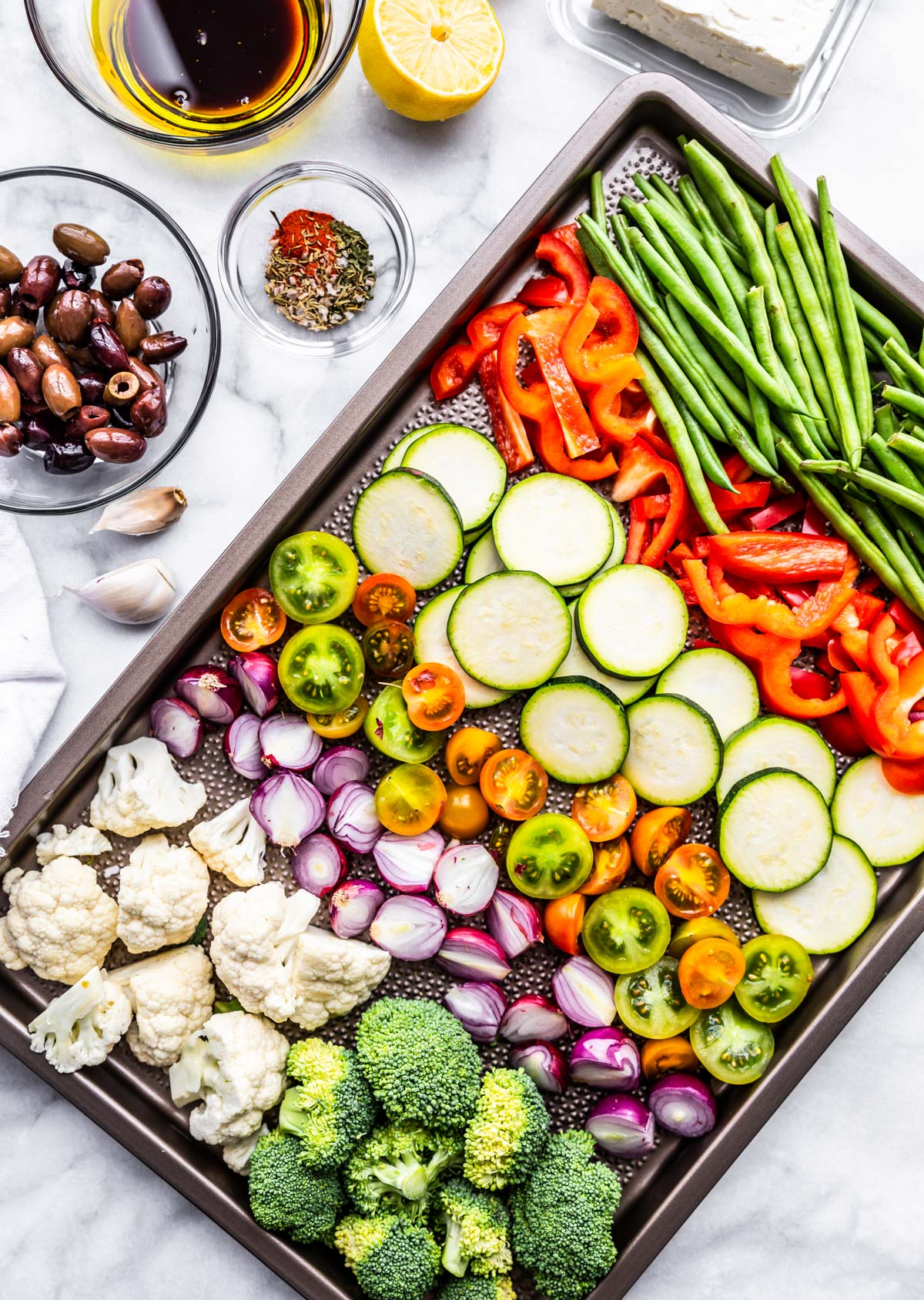 fresh vegetables on sheet pan for keto meal prep dinner