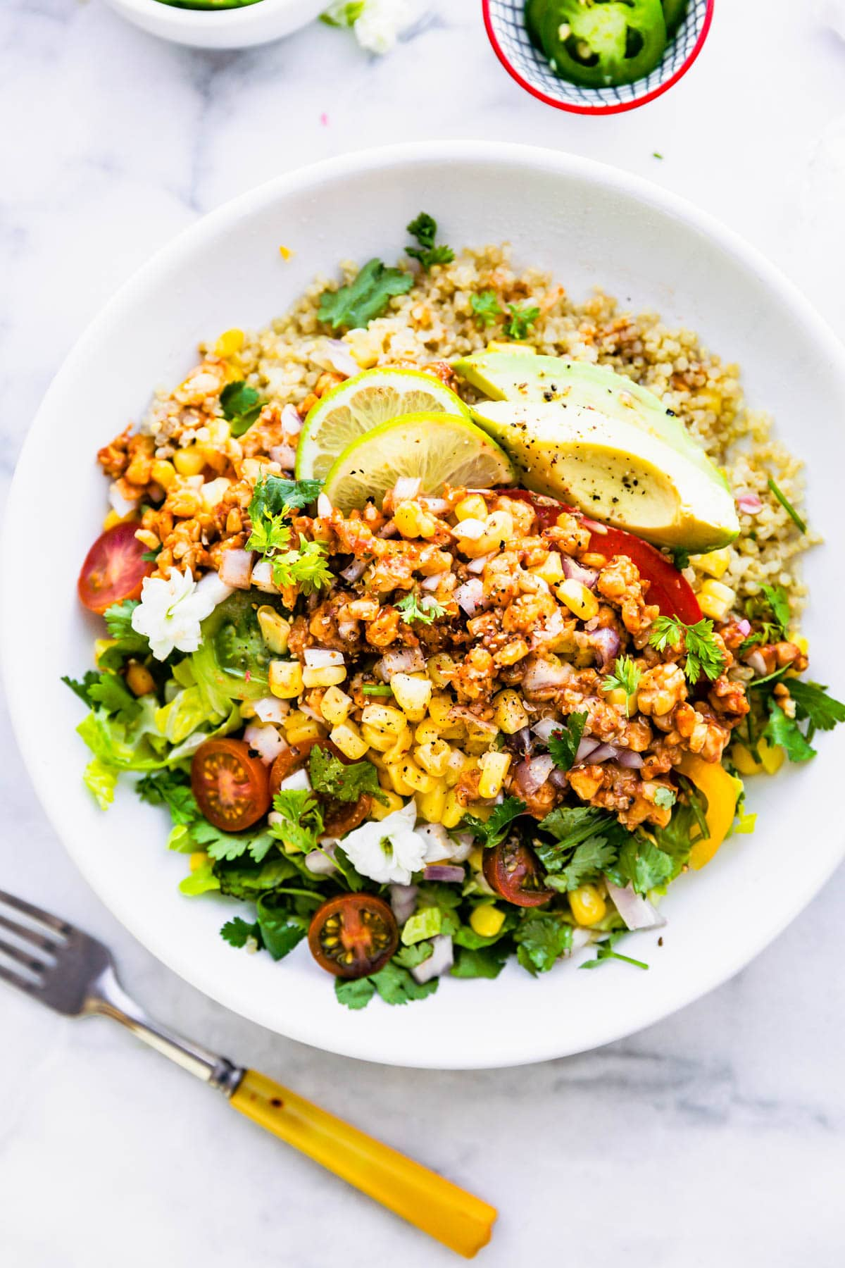 bbq tempeh quinoa salad in a large bowl