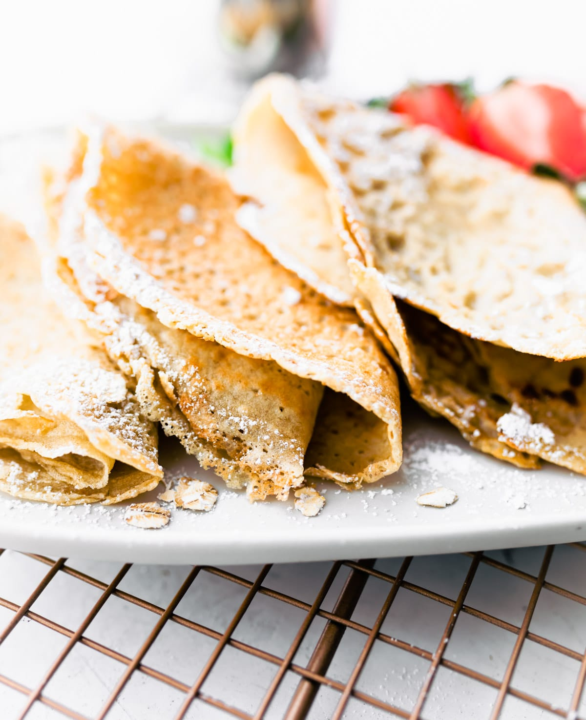 crepes on plates, folded