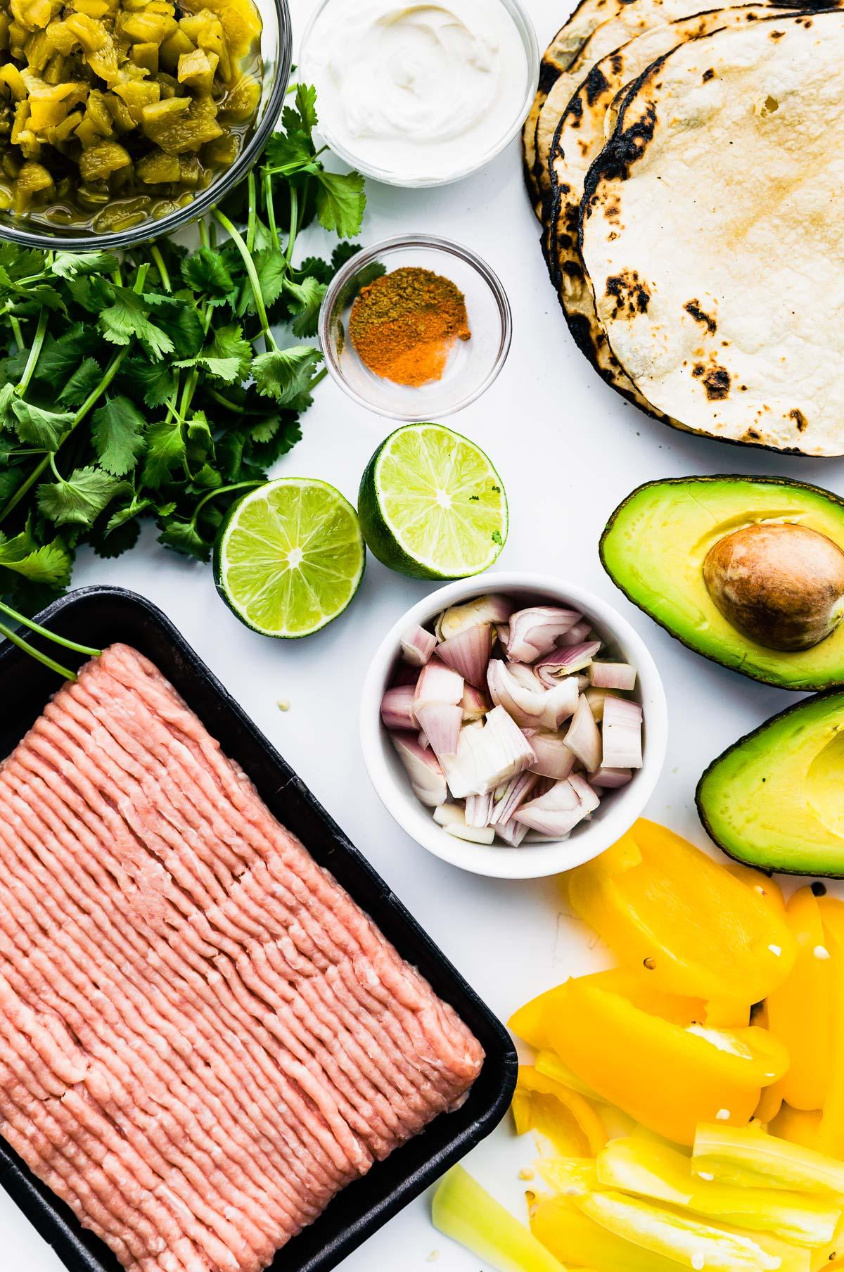 ingredients to make gluten free ground turkey tacos