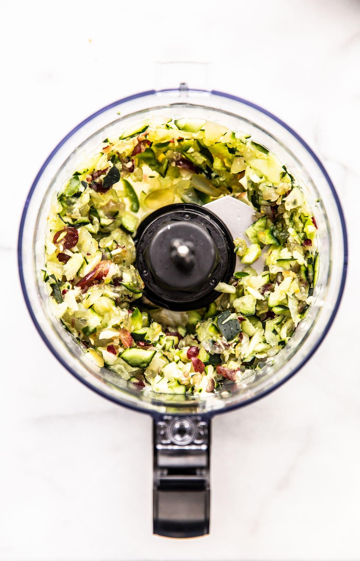 fresh cucumber salsa in bowl of food processor
