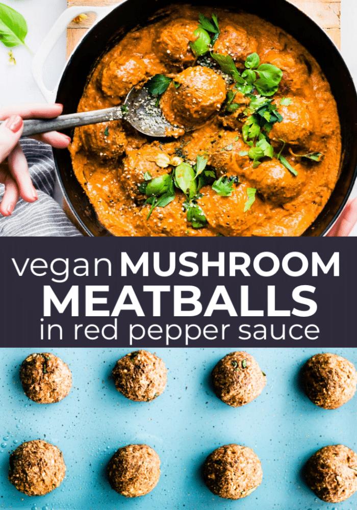 vegan mushroom collage with baked meatballs