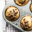 chocolate chip protein muffins in muffin pan
