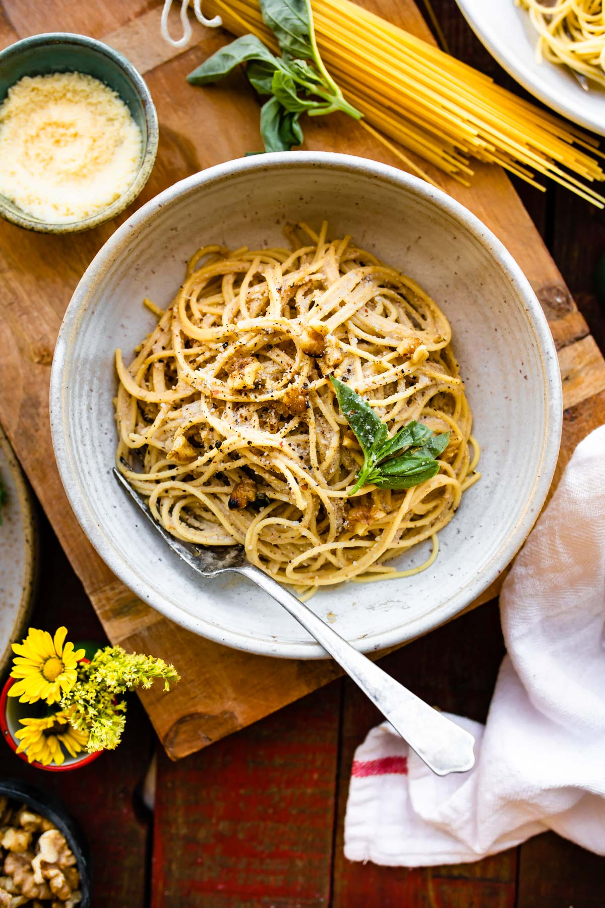 tender spaghetti with vegan pasta sauce in white bowl