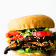 Asian mushroom veggie steak burger on Little Northern Bakehouse bun