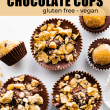 edible chocolate cookie dough cups with nuts on top - collage